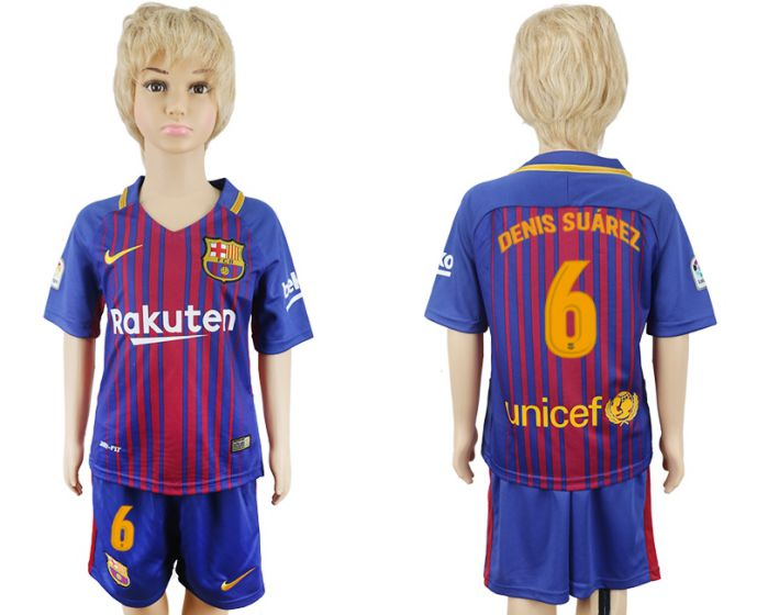 2017-2018 club Barcelona home kids 6 soccer jersey