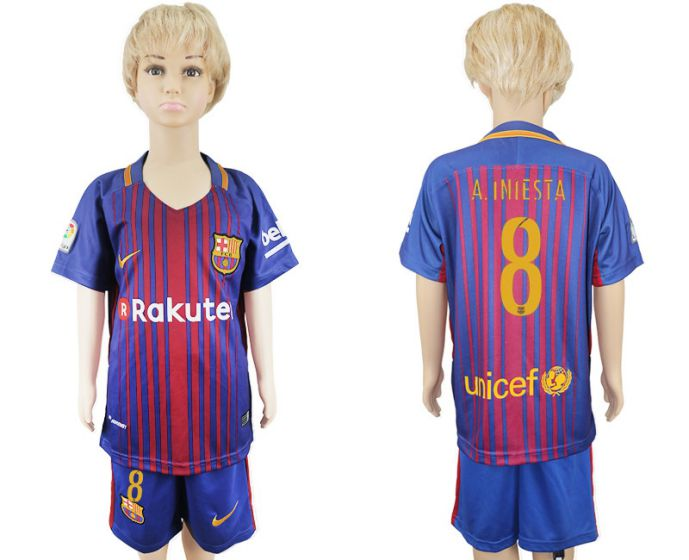 2017-2018 club Barcelona home kids 8 blue soccer jersey