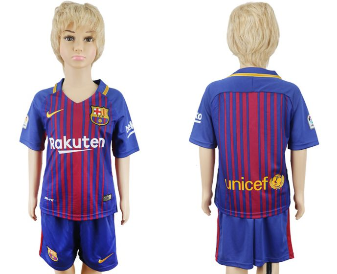 2017-2018 club Barcelona home kids blank soccer jersey