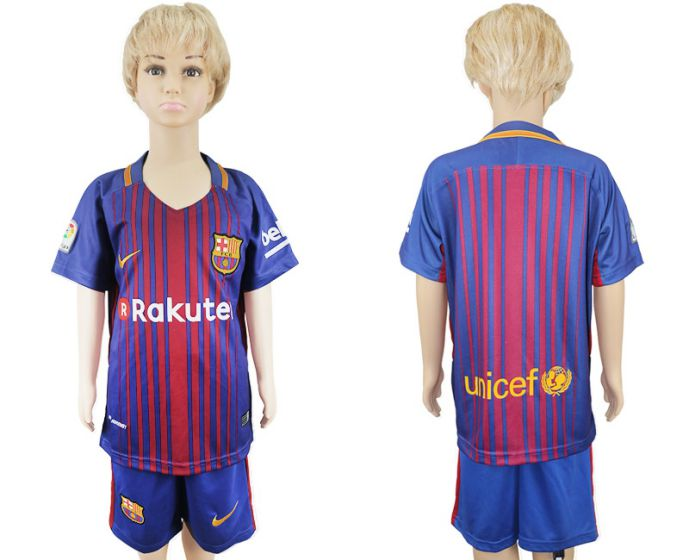 2017-2018 club Barcelona home kids soccer jersey
