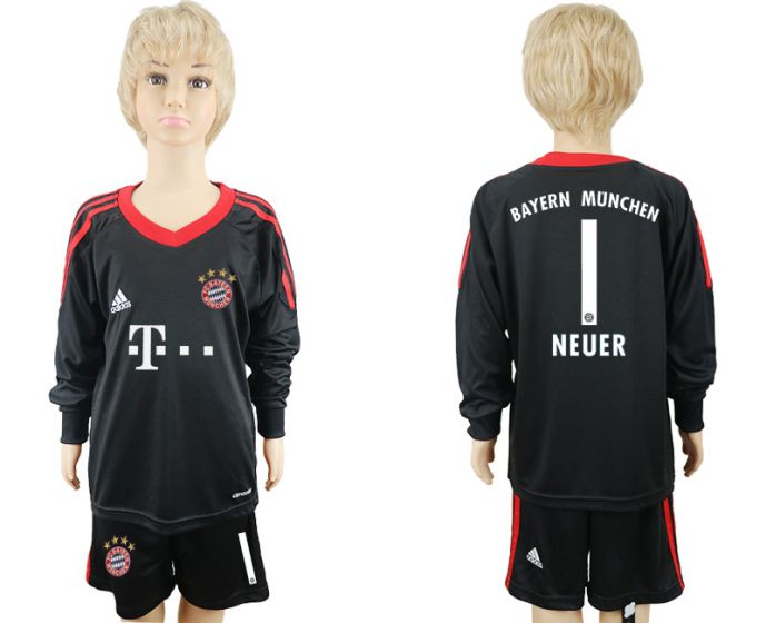 2017-2018 club Bayern Munchen goalkeeper Long sleeve youth 1 soccer jersey