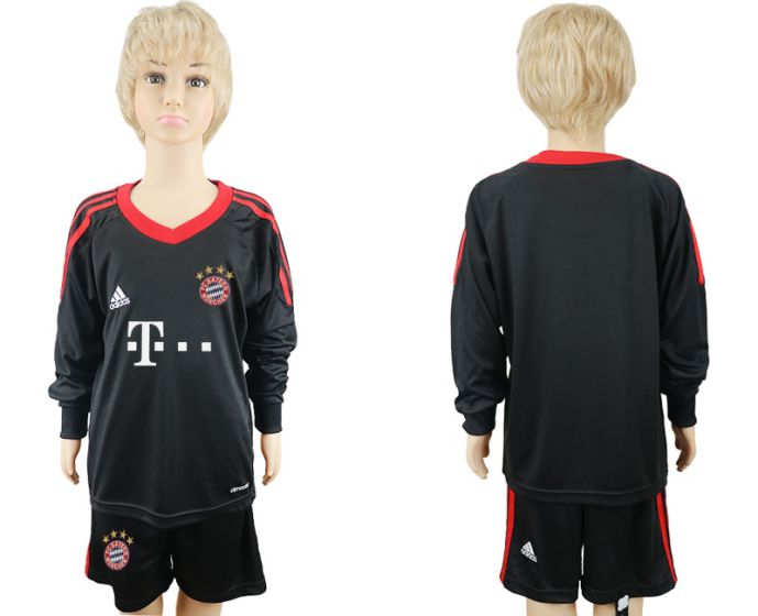 2017-2018 club Bayern Munchen goalkeeper Long sleeve youth soccer jersey