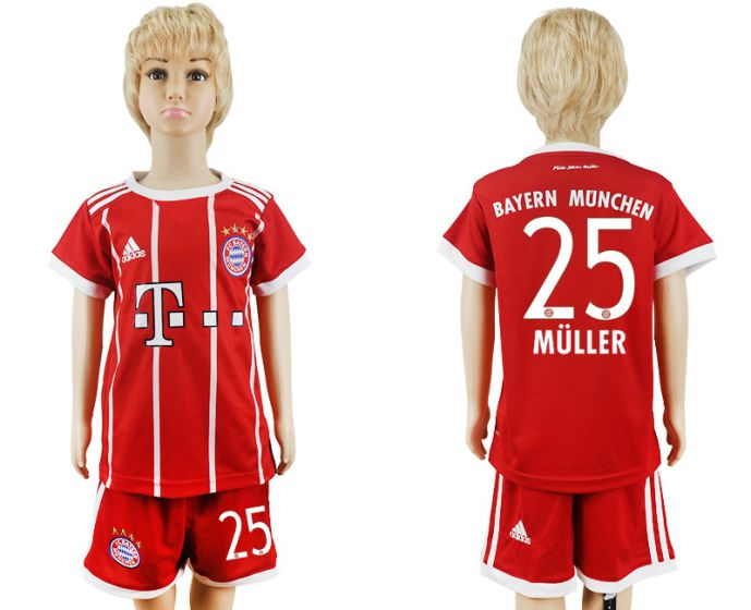 2017-2018 club Bayern Munich home kids 25 soccer jersey