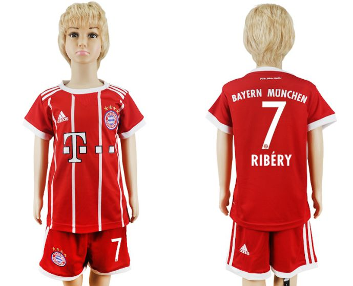 2017-2018 club Bayern Munich home kids 7 soccer jersey