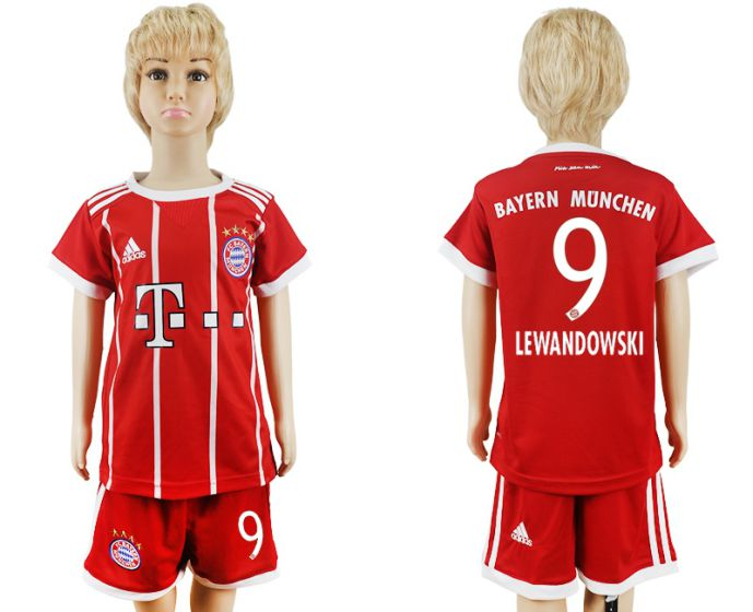 2017-2018 club Bayern Munich home kids 9 soccer jersey