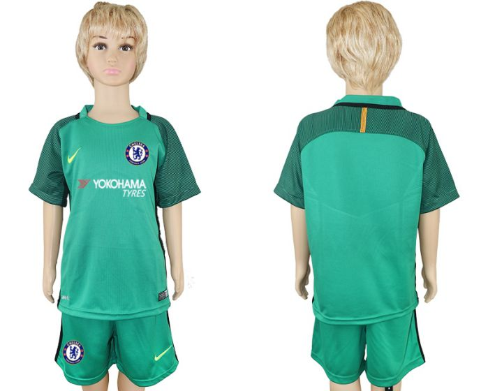 2017-2018 club Chelsea green goalkeeper long sleeves kids soccer jersey