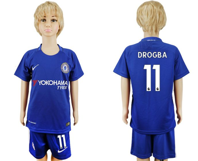 2017-2018 club Chelsea home kids 11 Drogba soccer jersey