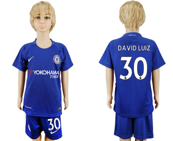 2017-2018 club Chelsea home kids 30 blue soccer jersey