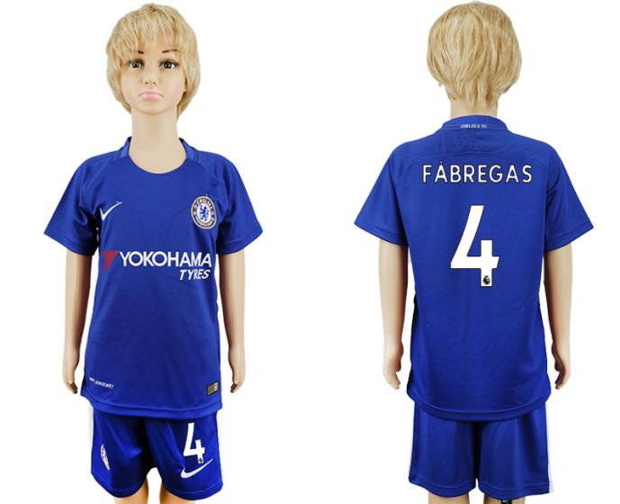 2017-2018 club Chelsea home kids 4 soccer jersey