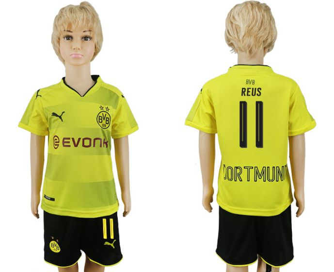 2017-2018 club Dortmund home kids 11 soccer jersey