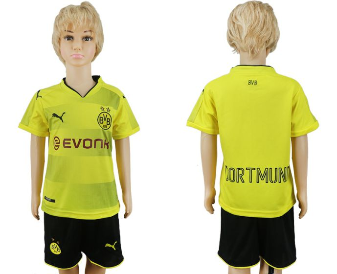 2017-2018 club Dortmund home kids soccer jersey