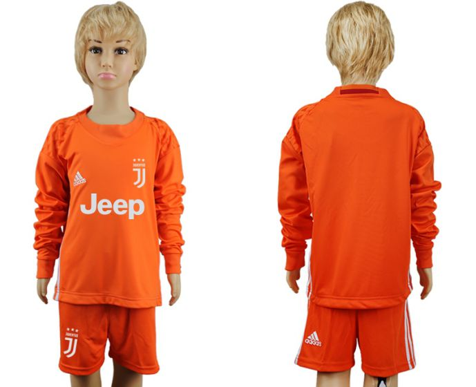 2017-2018 club Juventus Orange goalkeeper youth long sleeves soccer jersey