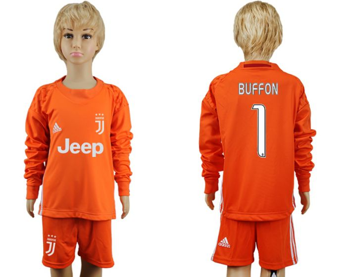 2017-2018 club Juventus Orange goalkeeper youth long sleeves 1 soccer jersey