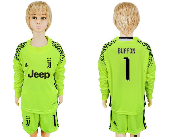 2017-2018 club Juventus fluorescent green goalkeeper long sleeves youth 1 soccer jersey