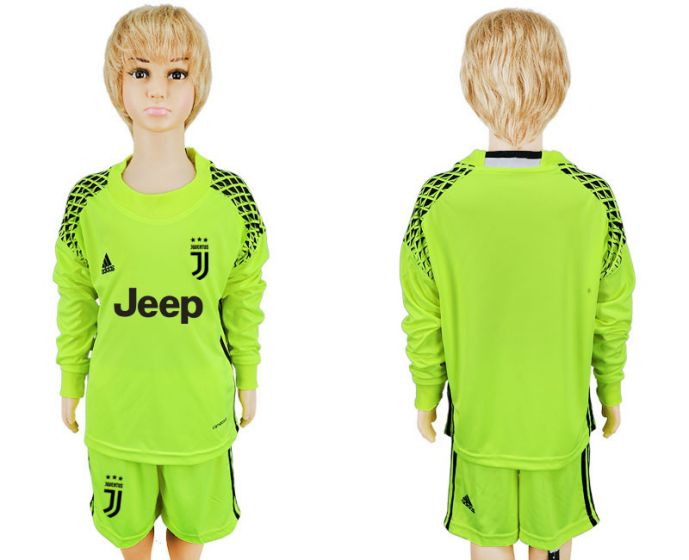 2017-2018 club Juventus fluorescent green goalkeeper long sleeves youth blank soccer jersey