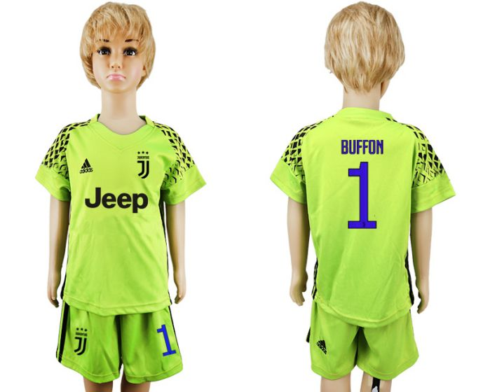 2017-2018 club Juventus green goalkeeper kids 1 soccer jersey