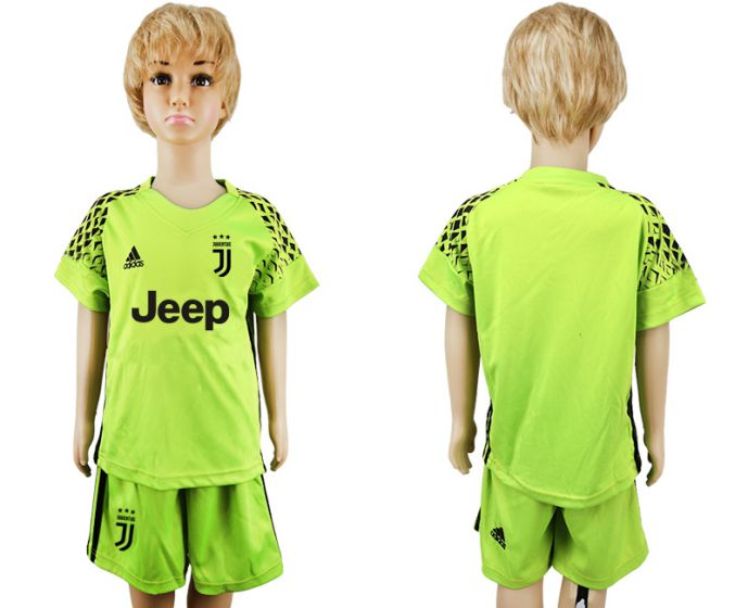 2017-2018 club Juventus green goalkeeper kids blank soccer jersey