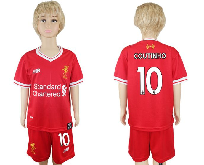 2017-2018 club Liverpool home kids 10 soccer jersey