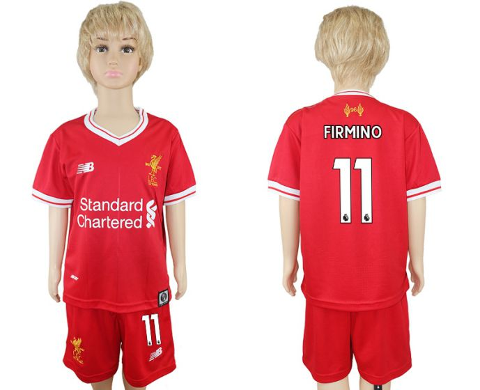2017-2018 club Liverpool home kids 11 soccer jersey