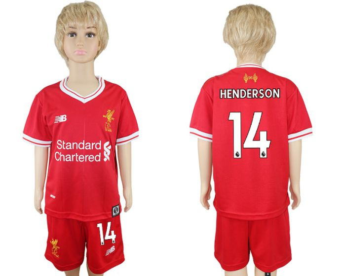 2017-2018 club Liverpool home kids 14 soccer jersey