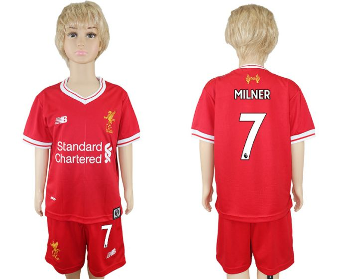 2017-2018 club Liverpool home kids 7 soccer jersey