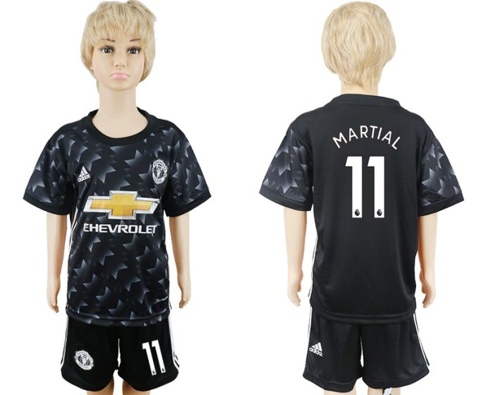 2017-2018 club Manchester United away black kids 11 soccer jersey