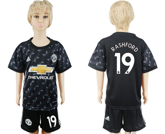 2017-2018 club Manchester United away black kids 19 soccer jersey