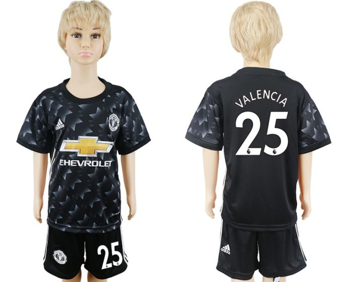 2017-2018 club Manchester United away black kids 25 soccer jersey