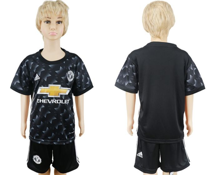 2017-2018 club Manchester United away black kids blank soccer jersey