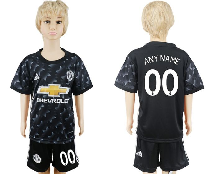 2017-2018 club Manchester United away black kids customized soccer jersey