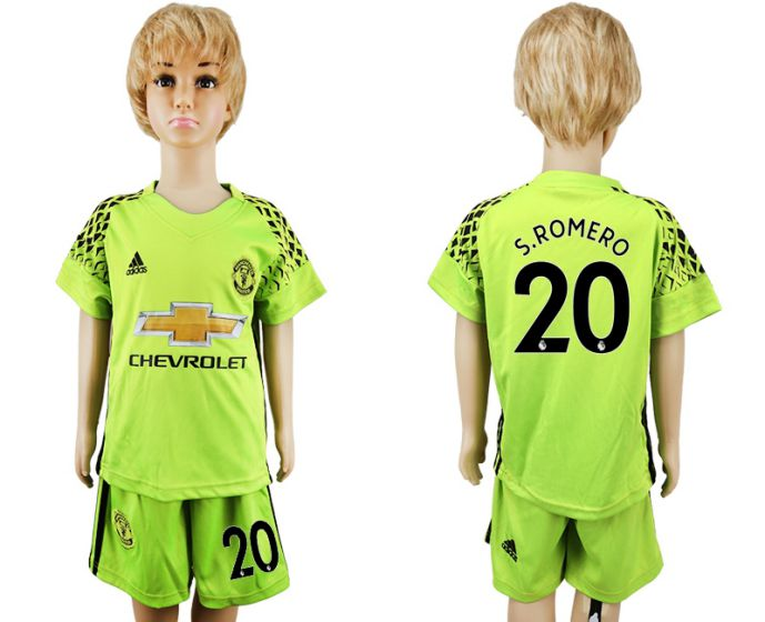 2017-2018 club Manchester United vert gardien de but enfants 20 maillot de football