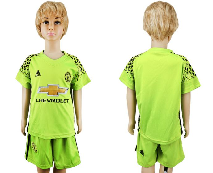 2017-2018 club Manchester United green goalkeeper kids soccer jersey