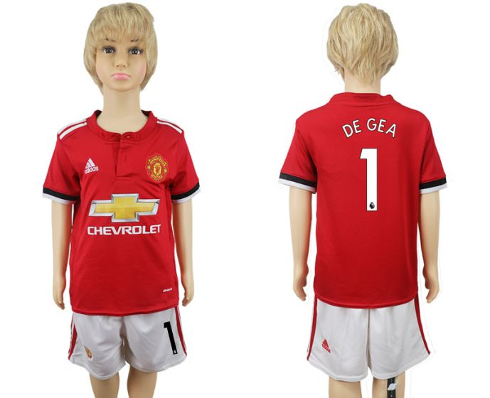 2017-2018 club Manchester United home kids 1 De gea soccer jersey