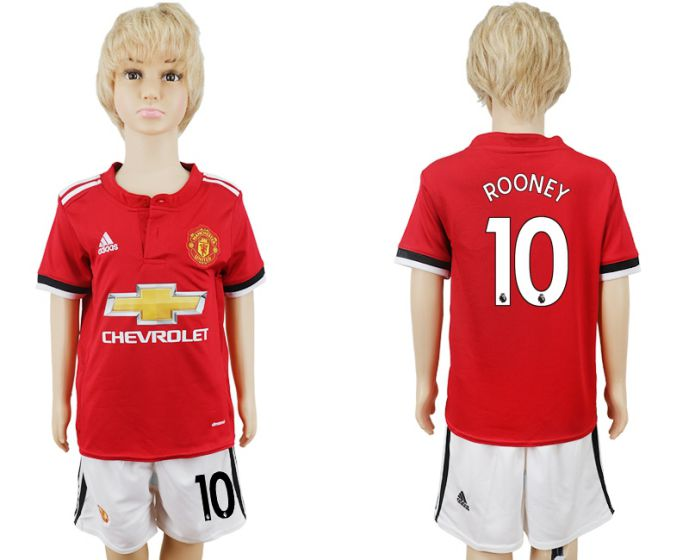 2017-2018 club Manchester United home kids 10 soccer jersey