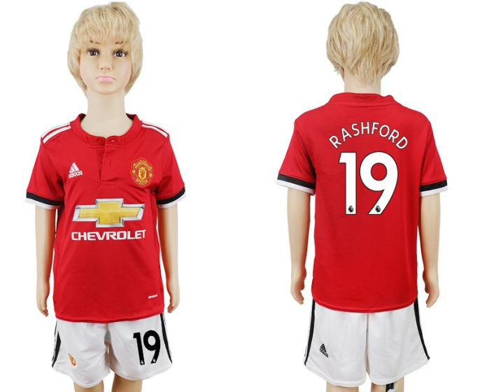 2017-2018 club Manchester United home kids 19 soccer jersey