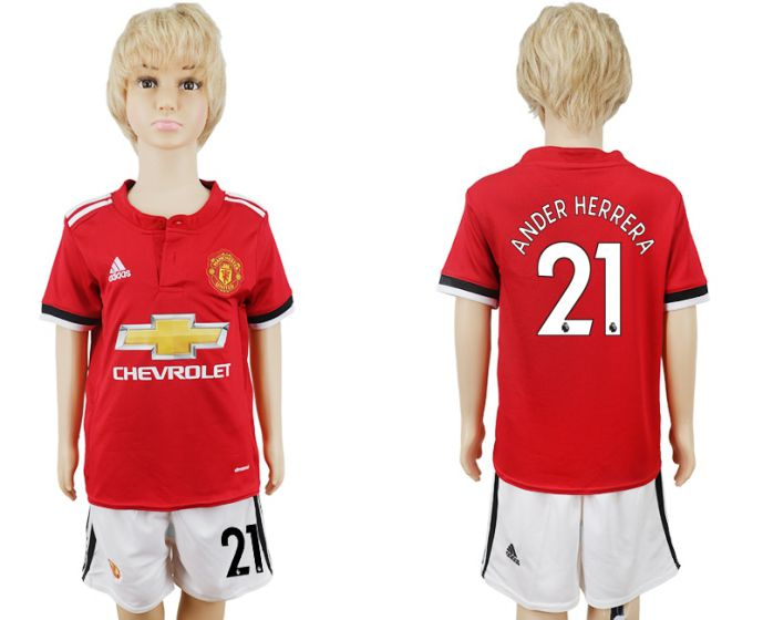 2017-2018 club Manchester United home kids 21 soccer jersey
