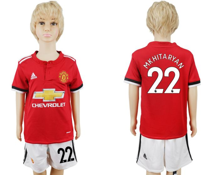 2017-2018 club Manchester United home kids 22 soccer jersey