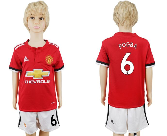 2017-2018 club Manchester United home kids 6 soccer jersey