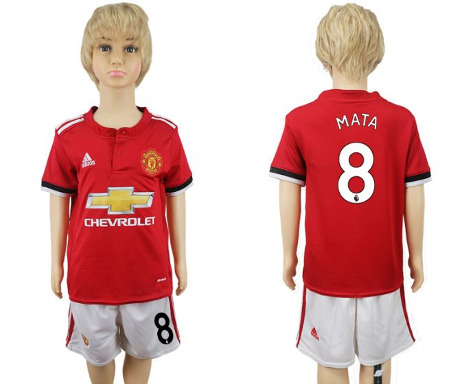 2017-2018 club Manchester United home kids 8 soccer jersey