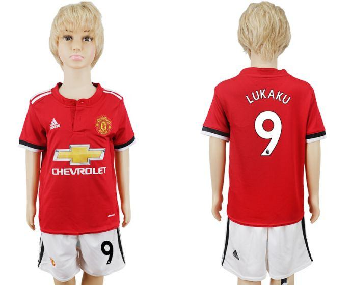 2017-2018 club Manchester United home kids 9 soccer jersey