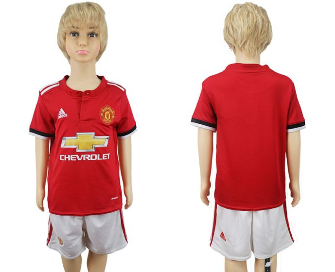 2017-2018 club Manchester United home kids red soccer jersey