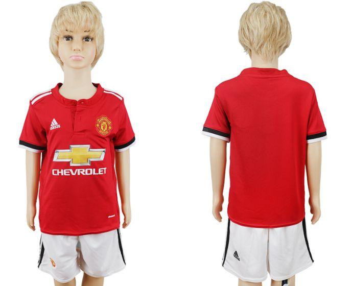 2017-2018 club Manchester United home kids soccer jersey