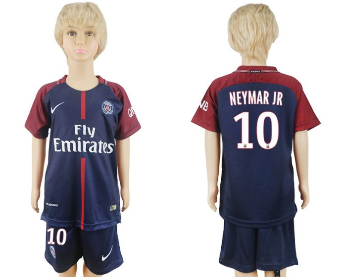 2017-2018 club Paris St German home kids 10 soccer jersey