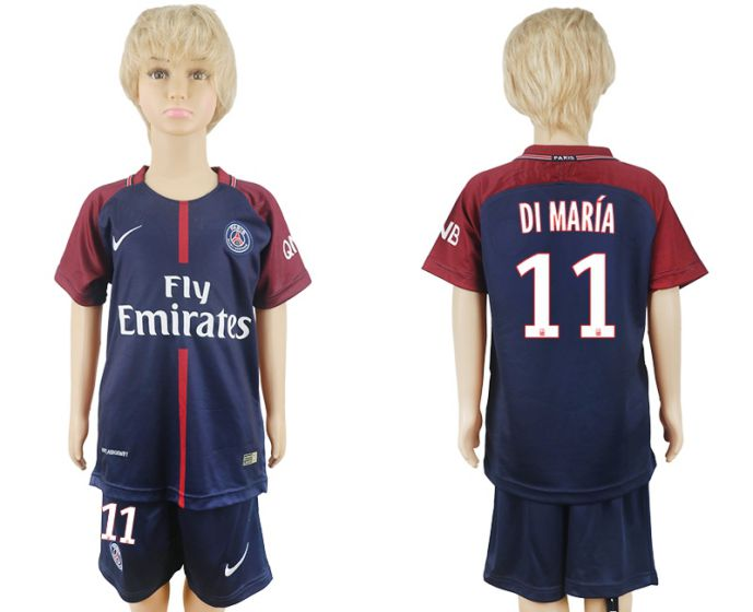 2017-2018 club Paris St German home kids 11 soccer jersey