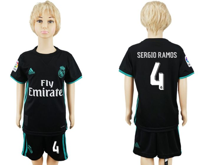 2017-2018 club Real Madrid away kids 4 soccer jersey