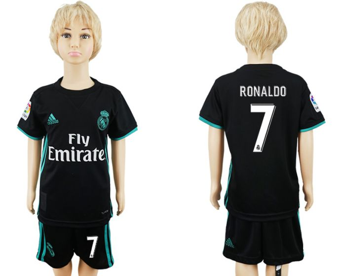 2017-2018 club Real Madrid away kids 7 soccer jersey