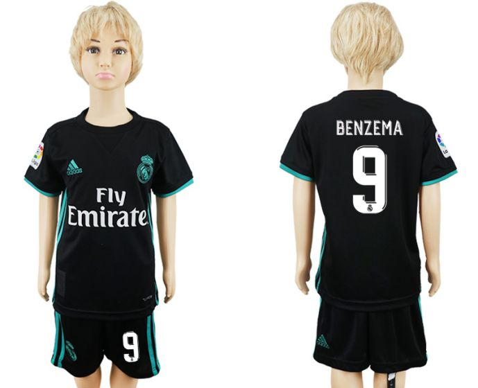 2017-2018 club Real Madrid away kids 9 soccer jersey