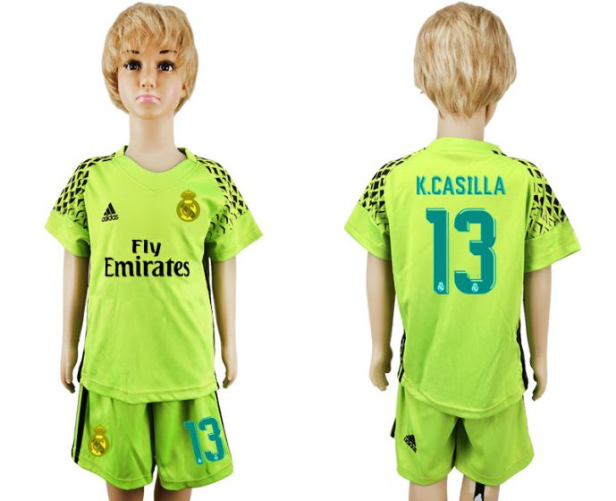 2017-2018 club Real Madrid green goalkeeper kids 13 soccer jersey