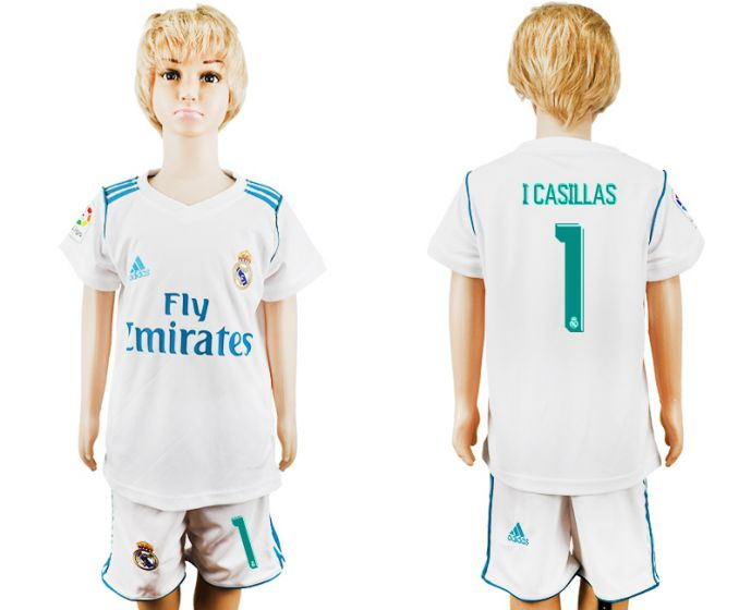 2017-2018 club Real Madrid home kid 1 white soccer jersey