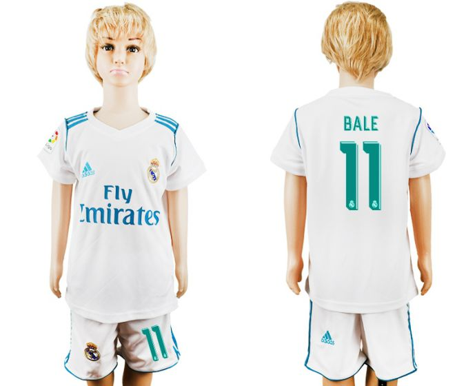 2017-2018 club Real Madrid home kid 11 soccer jersey